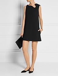 preiswerte -Damen Grundlegend Street Schick Chiffon Kleid Solide Übers Knie