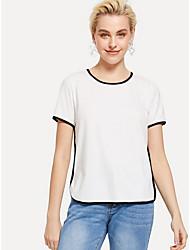 baratos -t-shirt slim tamanho eu / us para mulher - cor sólida em volta do pescoço