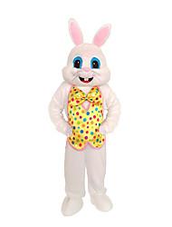billige -Rabbit Mascot påskeharen Cosplay Kostumer سترة Barne Voksne Herre Ett Stykke Cosplay Påske Festival / høytid Polyester Hvit / Gul Karneval Kostumer Polkadotter Lapper