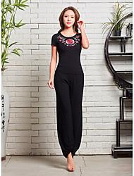 저렴한 -스포츠 댄스웨어 의상 / 요가 여성용 트레이닝 / 성능 비스코 자수장식 짧은 소매 높음 탑 / 팬츠
