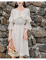 cheap -Women's Boho A Line Dress - Polka Dot Print Green White S M L