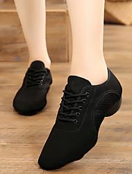 Недорогие -Жен. Танцевальная обувь Полотно Обувь для джаза Оксфорды Толстая каблук Персонализируемая Черный / Тренировочные
