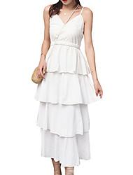 رخيصةأون -المرأة ميدي خط اللباس حزام القطن الأبيض أسود الصورة م ل xl