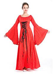 billige -Queen Cosplay Kostumer Voksne Dame Vintage Halloween Festival / høytid Polyester Rød Karneval Kostumer Ensfarget