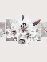 Недорогие -С картинкой Роликовые холсты Отпечатки на холсте - ботанический Цветочные мотивы / ботанический Современный Modern 5 панелей Репродукции