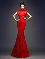 billige -Voksne Dame Designet i Kina Kinesisk Stil Wasp-innsnevrede Cheongsam Til Ytelse Forlovelsesfest Utdrikningslag Elastan Gulvlang Cheongsam