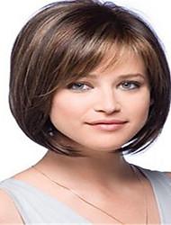 Χαμηλού Κόστους -Συνθετικές Περούκες Ίσιο Στυλ Κούρεμα καρέ Χωρίς κάλυμμα Περούκα Καφέ Μπεζ Συνθετικά μαλλιά / Kanekalon 12 inch Γυναικεία Απλός / συνθετικός / Η καλύτερη ποιότητα Καφέ Περούκα Μεσαίου Μήκους BLONDE