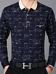 baratos -Homens Camiseta Estampado, Sólido