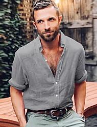 olcso -férfi eu / us méretű vékony póló - tömör színű ing gallér