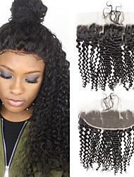 tanie -1 Pakiet Włosy brazylijskie Kinky Curl Włosy virgin Akcesoria do peruk Taśma włosów z zamknięciem 8-20 in Kolor naturalny Ludzkie włosy wyplata Kreatywne Przeciwe stresowi i niepokojom Gorąca