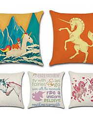 abordables -5 pcs Coton / Lin Taie d'oreiller, Animal Bande dessinée Citations & Dictons Style artistique Classique