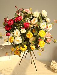 halpa -Keinotekoinen Flowers 1 haara Klassinen Pastoraali Tyyli Ruusut Pöytäkukka