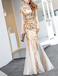 cheap -Mermaid / Trumpet Jewel Neck Floor Length Tulle / Sequined Dress with Sequin / Crystals / Embroidery by LAN TING Express