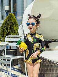 cheap -JIAAO Girls' One Piece Swimsuit Thermal / Warm Ultra Light (UL) Wearable Chinlon Long Sleeve Swimwear Beach Wear Bodysuit Patchwork Swimming / High Elasticity