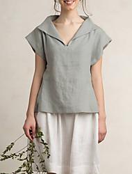 billige -Skjortekrage Skjorte Dame - Ensfarget