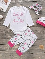 preiswerte -Baby Mädchen Aktiv / Grundlegend Druck Druck Langarm Lang Baumwolle Kleidungs Set Weiß