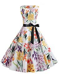 저렴한 -여성용 스트리트 쉬크 칼집 드레스 - 플로럴, 프린트 무릎 위