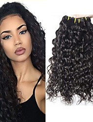 Недорогие -6 Связок с закрытием Бразильские волосы Волнистые Не подвергавшиеся окрашиванию Человека ткет Волосы Пучок волос One Pack Solution 8-28inch Естественный цвет Ткет человеческих волос