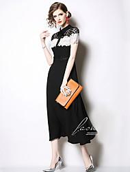 저렴한 -여성용 우아함 스윙 드레스 - 컬러 블럭, 레이스 미디