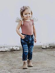 זול -סט של בגדים ללא שרוולים אחיד / משובץ דמקה בנות ילדים / פעוטות