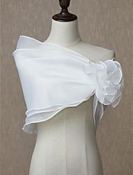 ราคาถูก -เสื้อไม่มีแขน ออแกนซ่า งานแต่งงาน / งานปาร์ตี้ / งานราตรี Women's Wrap กับ ดอกไม้ Boleros / ผ้าคลุมไหลถัก
