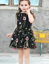 Χαμηλού Κόστους -Παιδιά Κοριτσίστικα Φλοράλ Δίχτυ Πολυεστέρας Φόρεμα Μαύρο