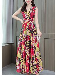 preiswerte -Damen Boho Chiffon Kleid - Druck, Blumen Maxi