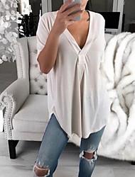 baratos -Mulheres Tamanhos Grandes Camiseta Sólido Decote V Delgado