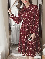 cheap -Women's Elegant Chiffon Dress - Geometric Blue Red M L XL