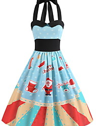 cheap -Women's Basic Swing Dress - Striped Print Blue L XL XXL