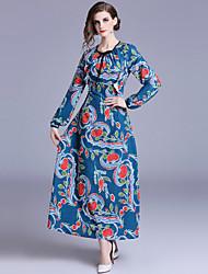 baratos -Mulheres Boho balanço Vestido - Estampado, Floral Longo