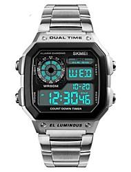 Недорогие -SKMEI Муж. электронные часы Цифровой Нержавеющая сталь Черный / Серебристый металл / Золотистый 50 m Защита от влаги Календарь Секундомер Цифровой На каждый день Мода -