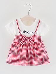 levne -Dítě Dívčí Základní Jednobarevné Tisk Krátký rukáv Nad kolena Polyester Šaty Černá