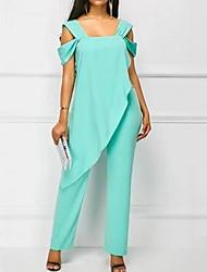 ราคาถูก -สำหรับผู้หญิง ใบไม้สีเขียวที่มีสามแฉก ขาว สีดำ ชุด Jumpsuits, สีพื้น XXXL XXXXL XXXXXL