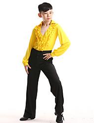 abordables -Baile Latino / Ropa de Baile para Niños Accesorios Chico Entrenamiento / Rendimiento Poliéster Volantes en Cascada / Cristales / Rhinestones Manga Larga Top / Pantalones