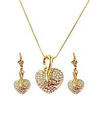Недорогие -Жен. Серьги-слезки Ожерелья с подвесками 3D Сердце Стиль Уникальный дизайн Стразы Позолоченное розовым золотом Серьги Бижутерия Золотой Назначение Подарок Повседневные 1 комплект