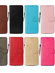 preiswerte -Hülle Für Apple iPhone X / iPhone 8 Geldbeutel / Kreditkartenfächer / mit Halterung Ganzkörper-Gehäuse Schmetterling Hart PU-Leder für iPhone X / iPhone 8 Plus / iPhone 8