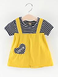 abordables -bébé Fille Actif / Basique Rayé / Mosaïque Mosaïque / Brodée Manches Courtes Au dessus du genou Coton Robe Rose Claire