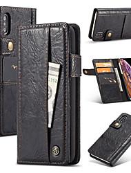 Недорогие -Nillkin Кейс для Назначение Apple iPhone XR / iPhone XS Max Кошелек / Бумажник для карт / со стендом Чехол Однотонный Твердый Кожа PU для iPhone XS / iPhone XR / iPhone XS Max