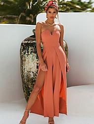 Недорогие -Жен. Уличный стиль С открытыми плечами Черный Оранжевый Широкие Комбинезоны, Однотонный M L XL
