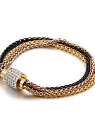 ราคาถูก -สำหรับผู้ชาย สำหรับผู้หญิง ขาว Cubic Zirconia Link / Chain สร้อยข้อมือโซ่และเชื่อมโยง กุหลาบทอง Titanium Steel ทอง 18K ล้ำค่า ง่าย คลาสสิก วินเทจ แฟชั่น กรุงโรมโบราณ สร้อยข้อมือ เครื่องประดับ