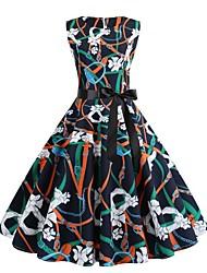저렴한 -여성용 스트리트 쉬크 칼집 드레스 - 기하학, 프린트 무릎 위