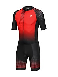 Χαμηλού Κόστους -Nuckily Ανδρικά Κοντομάνικο Ολόσωμη στολή για τρίαθλο - Μαύρο / Κόκκινο Gradient Ποδήλατο Αναπνέει Αθλητισμός Spandex Γεωμετρικό Ποδηλασία Βουνού Ποδηλασία Δρόμου Ρούχα / Μικροελαστικό