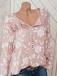 Недорогие -Жен. На выход Кружева Большие размеры - Блуза Рубашечный воротник Уличный стиль Цветочный принт Пыльная роза Красный / Весна / Осень