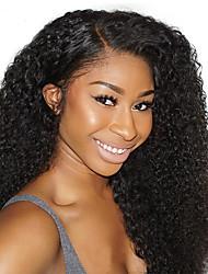 Недорогие -человеческие волосы Remy Натуральные волосы 6x13 Тип замка Лента спереди Парик Глубокое разделение стиль Перуанские волосы Кудрявый Черный Парик 250% Плотность волос / Природные волосы
