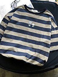 お買い得  -男性用 パッチワーク Tシャツ ストライプ