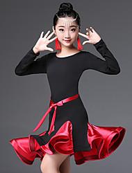 economico -Balli latino-americani / Abbigliamento da ballo per bambini Vestiti Da ragazza Prestazioni Nylon Con ruche / Più materiali Manica lunga Alto Abito