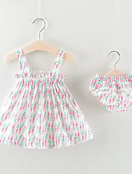 voordelige -Baby Meisjes Boho Bloemen / Fruit Mouwloos Normaal Katoen Kledingset Blozend Roze