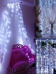 Недорогие -окно занавес строки свет, 3 х 3 м 300 светодиодов звездное сказочные огни для свадьбы дома сад спальня наружных внутренних стен украшения теплый белый / синий / многоцветный / белый связываемый 220-24