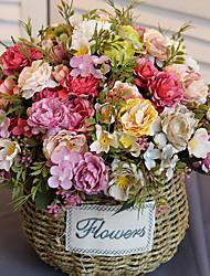 levne -Umělé květiny 2 Větev Klasické Jevištní doplňky Pastýřský Styl Pivoňky Věčné květy Květina na stůl
